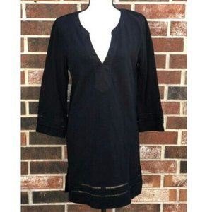 J. CREW BLACK V NECK SHIFT TUNIC DRESS MEDIUM